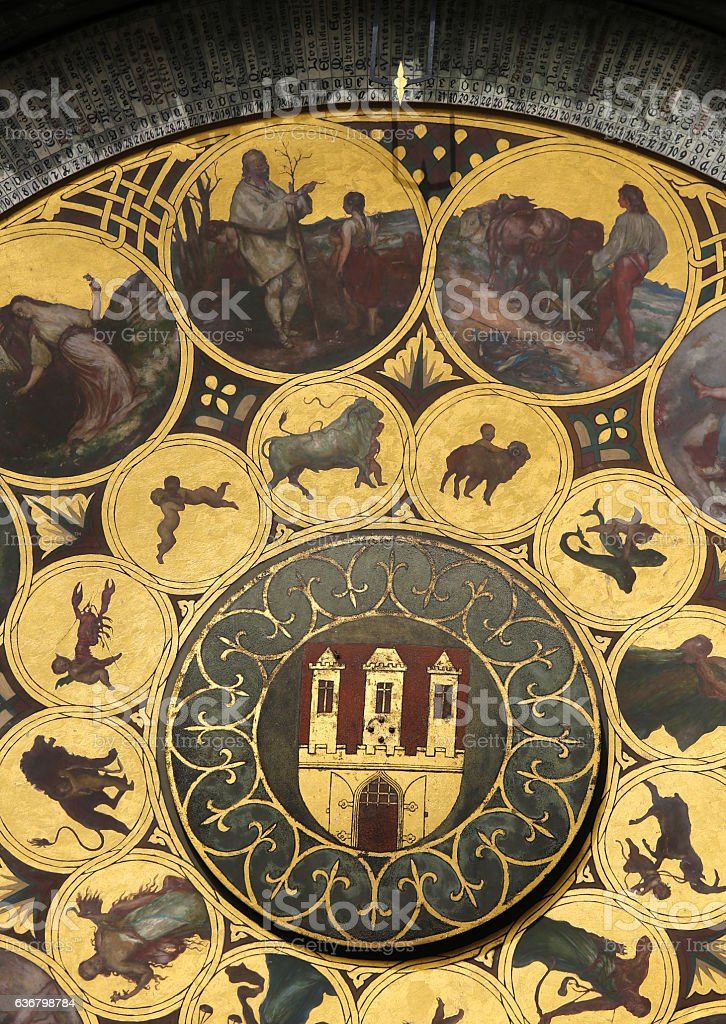 Prague astronomical clock or orloj stock photo