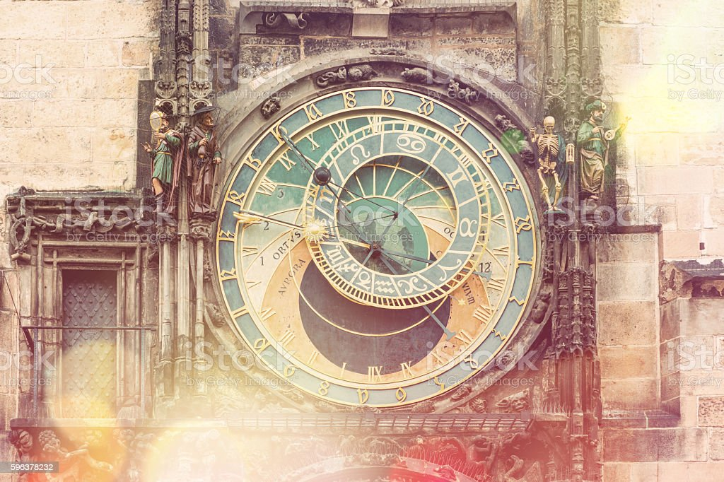 Prague Astronomical Clock (Orloj)  - vintage style stock photo