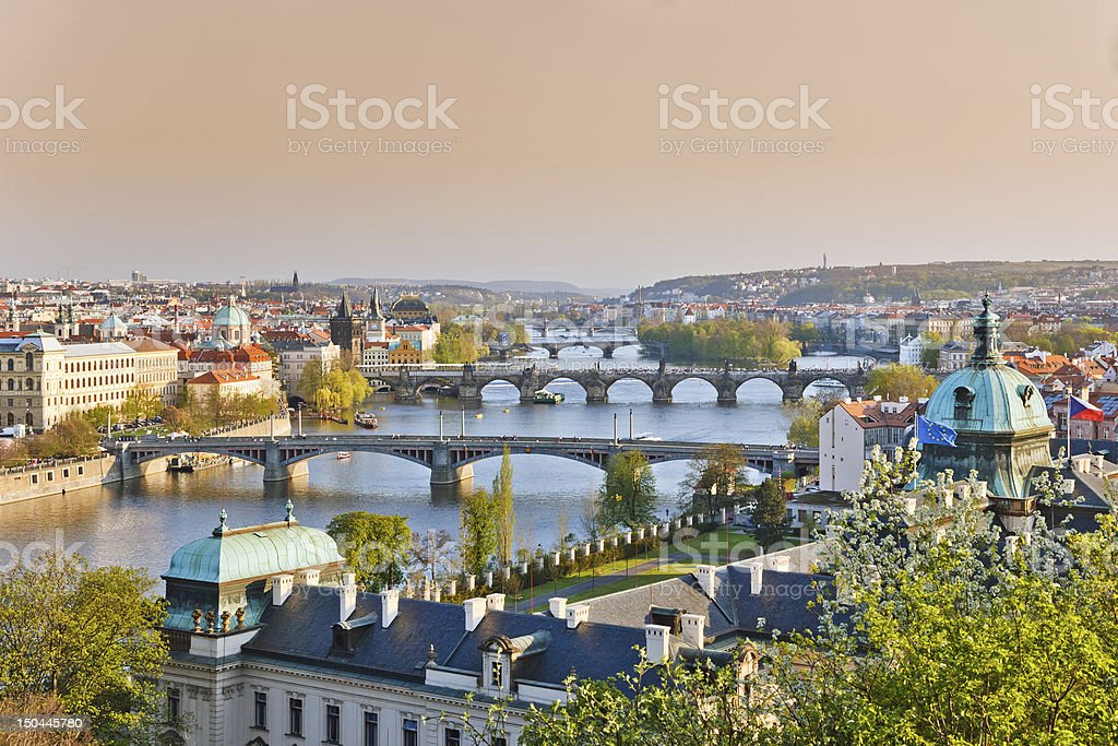 Prague at sunset royalty-free stock photo