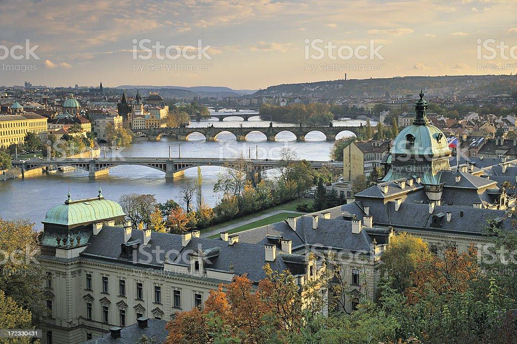 Prague at sunset royalty-free stock photo
