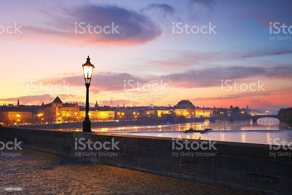 Prague at the sunrise stock photo