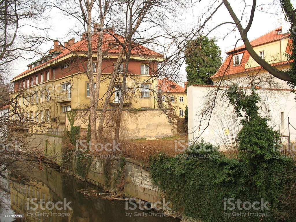 Prague. Buildings, street and river stock photo