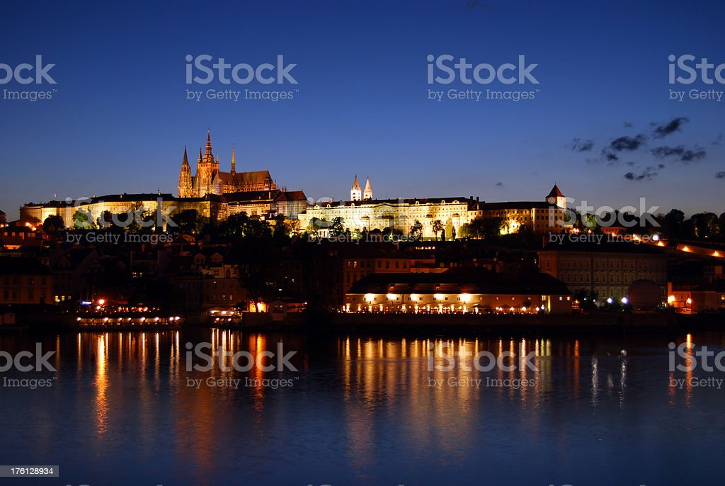 Prague by night - Hradcany. royalty-free stock photo