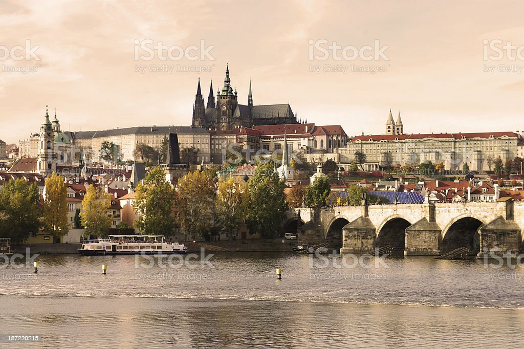 Prague Castle and Charles bridge, Czech Republic royalty-free stock photo