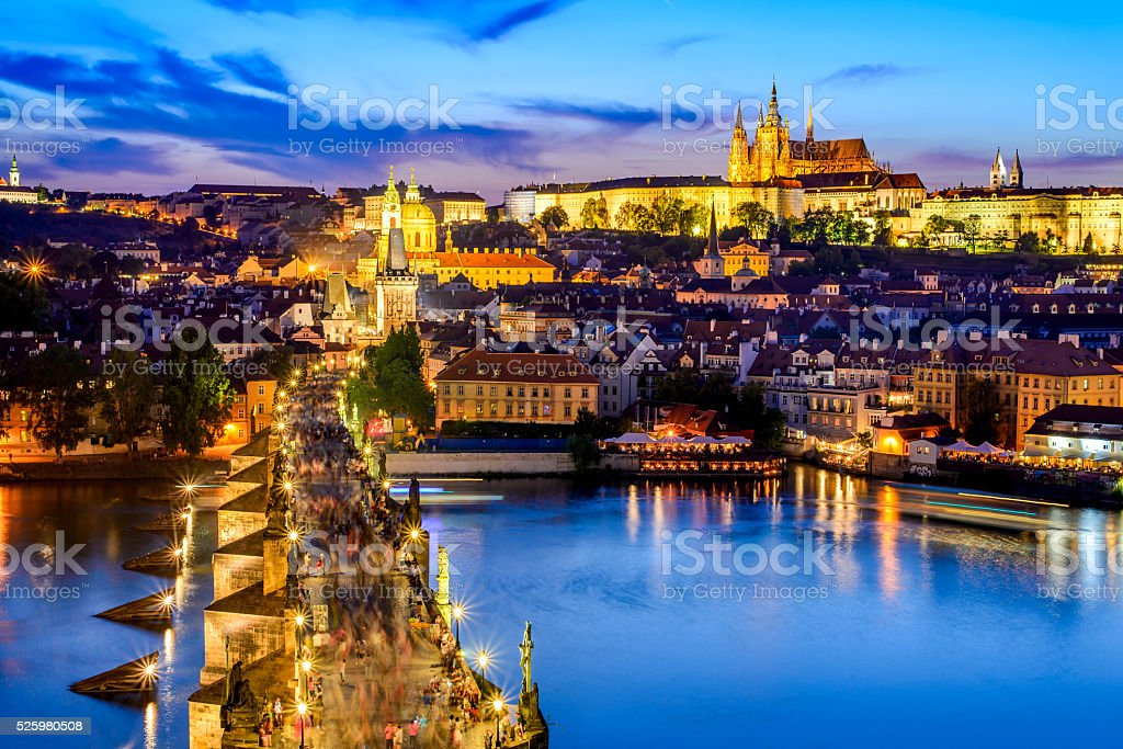 Prague Castle and Charles Bridge, Czech Republic stock photo