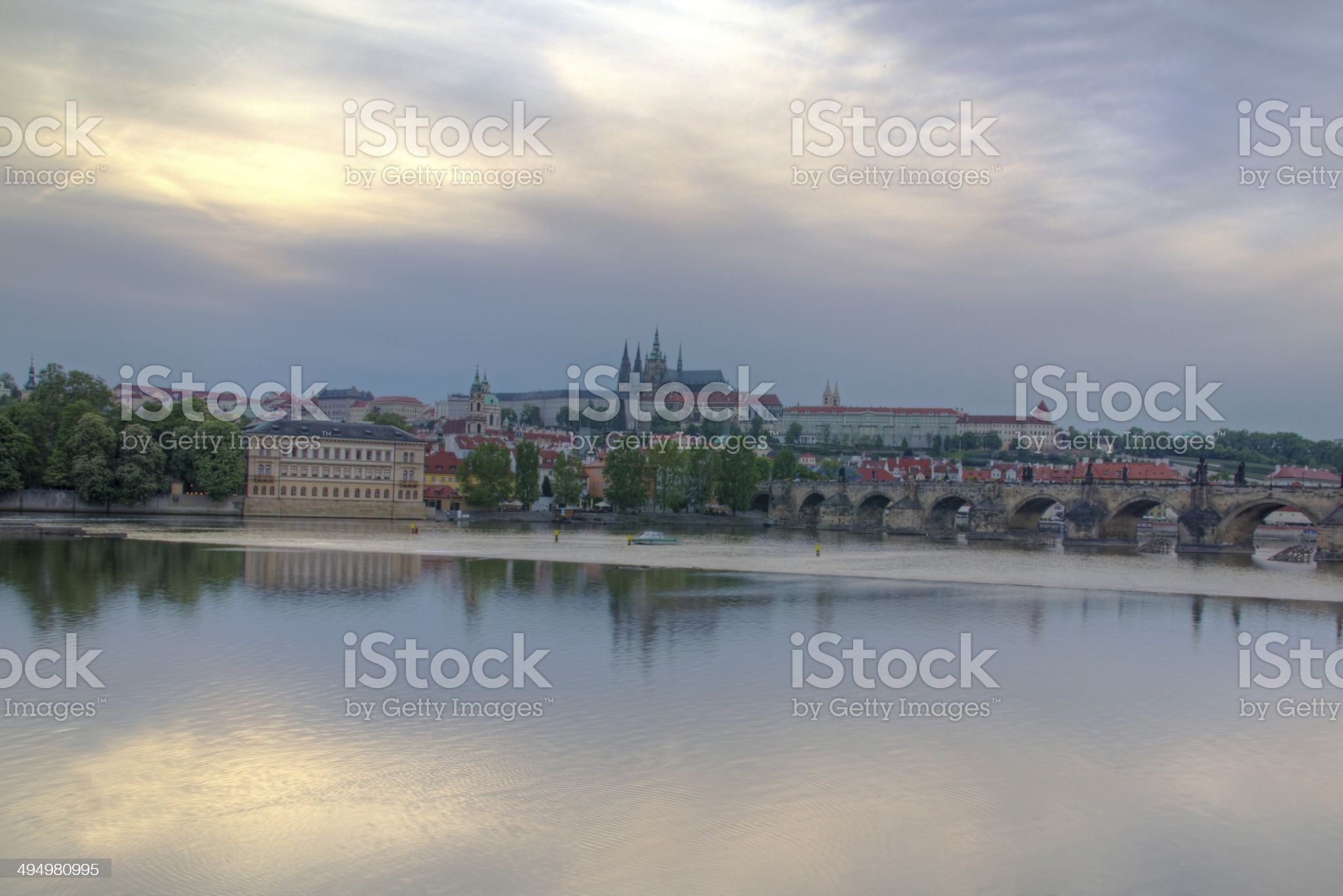 Prague castle and river royalty-free stock photo