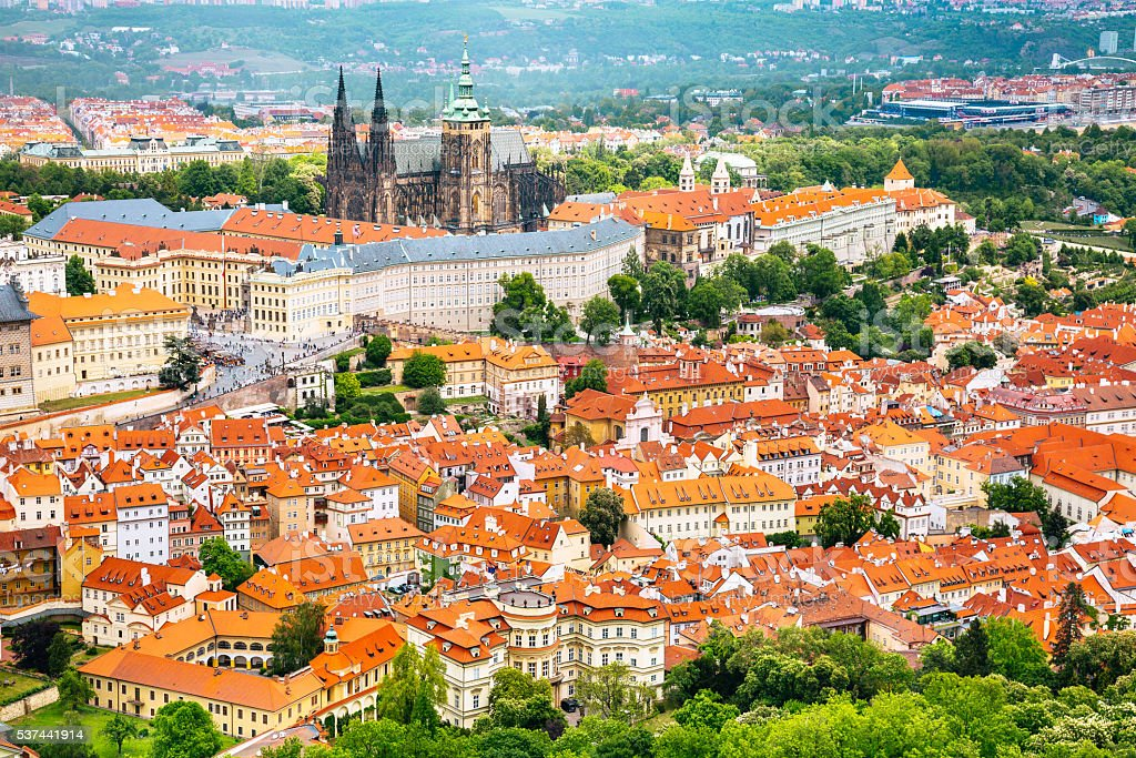 Prague castle and St. Vitus Cathedral stock photo
