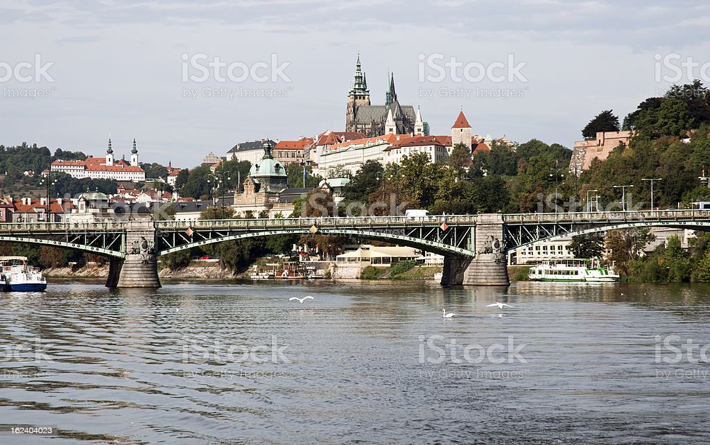 Prague castle and Vltava river royalty-free stock photo