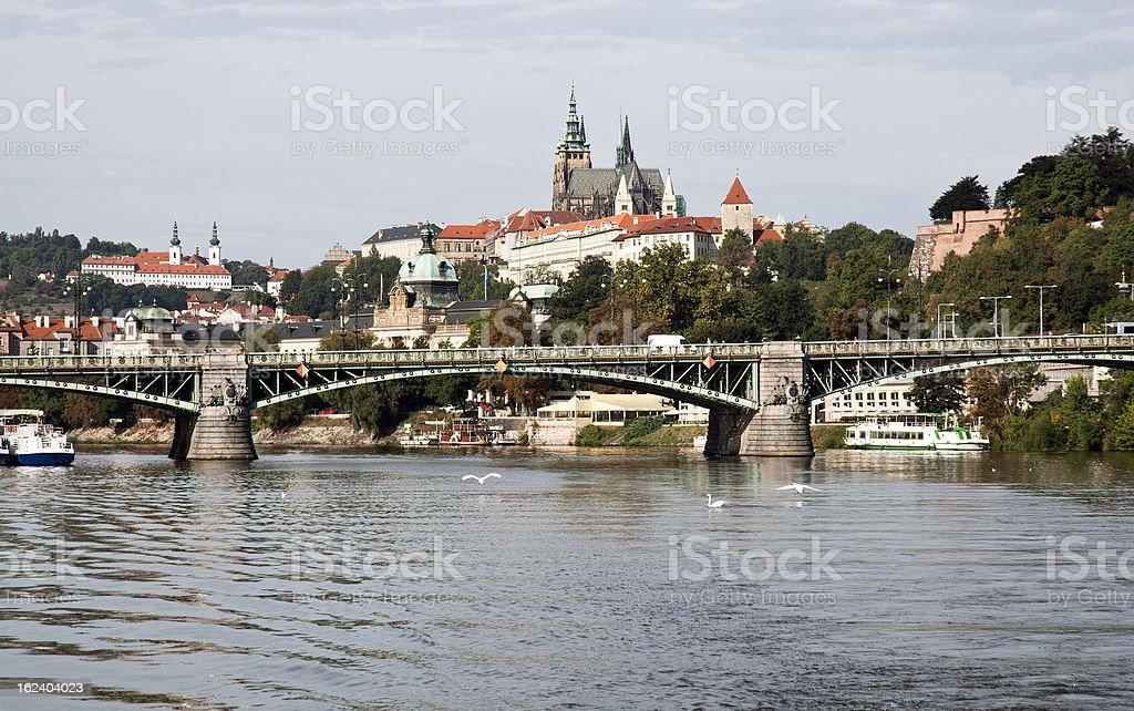 Prague castle and Vltava river stock photo