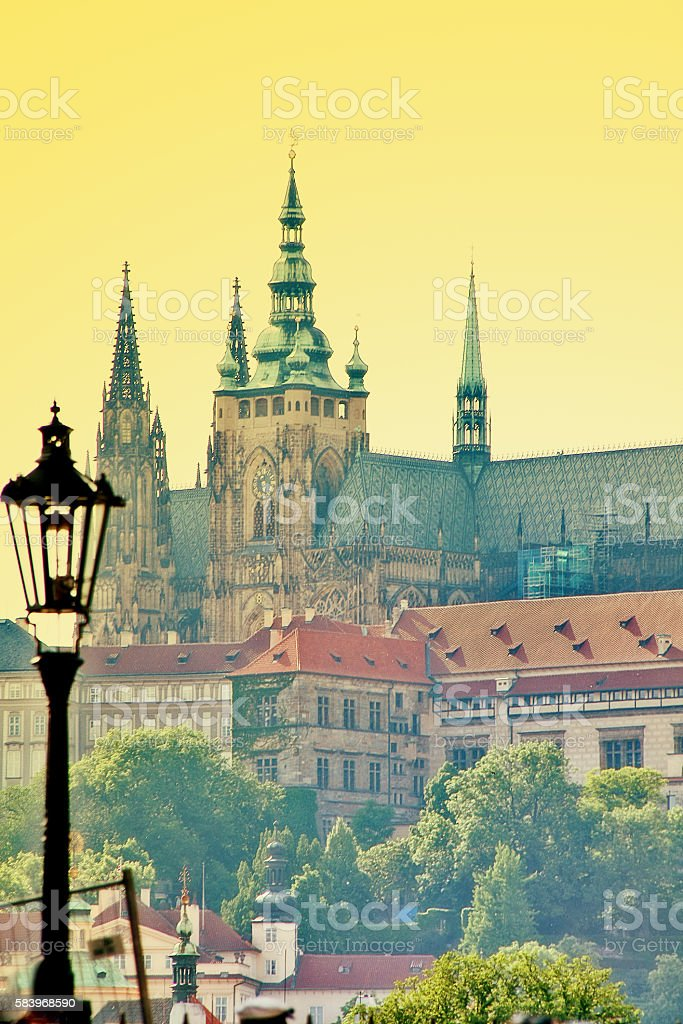 Prague castle (Prazsky hrad) in Hradcany, Prague, Czech Republic, Bohemia stock photo
