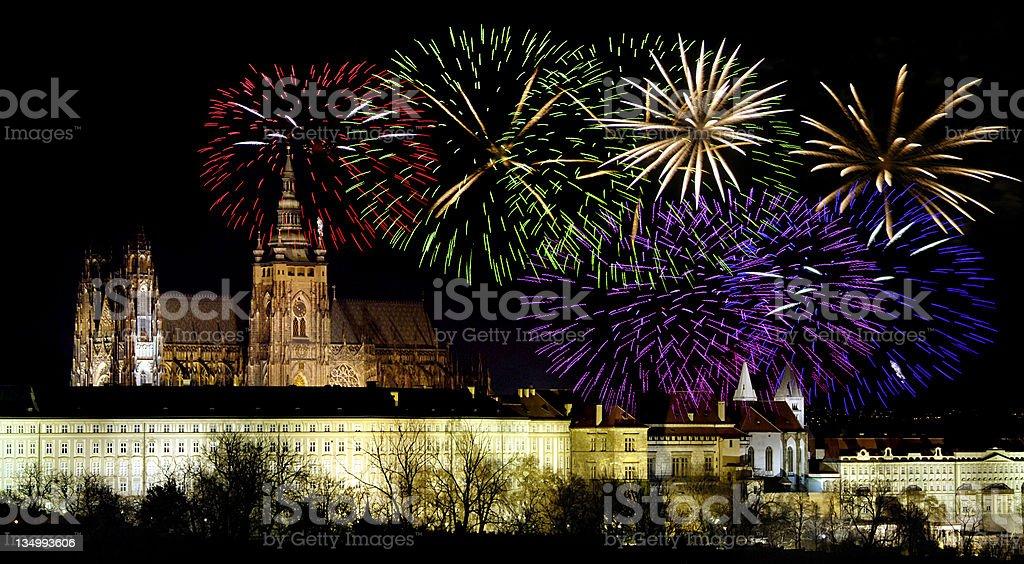 Prague castleand New Year celebrations royalty-free stock photo