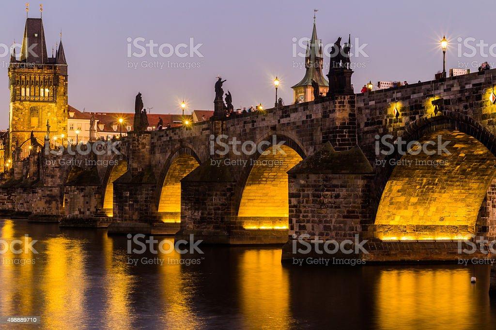 Prague, Charles Bridge and Lesser Tower at night, Czech Republic stock photo