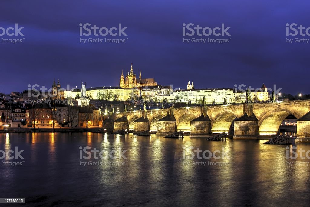 Prague, Charles Bridge at sunset royalty-free stock photo