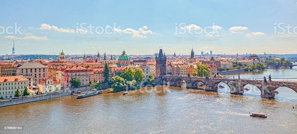 Prague Charles Bridge over Vltava River from above stock photo