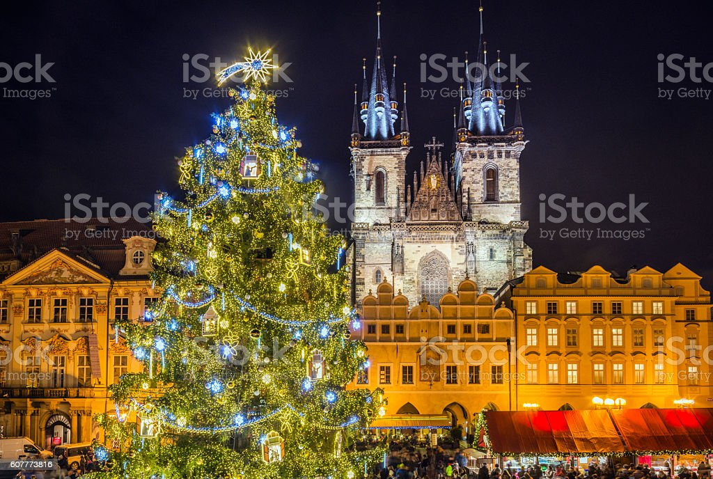 Prague Christmas Market and Christmas Tree stock photo