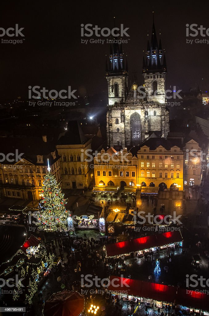 Prague Christmas market from above royalty-free stock photo