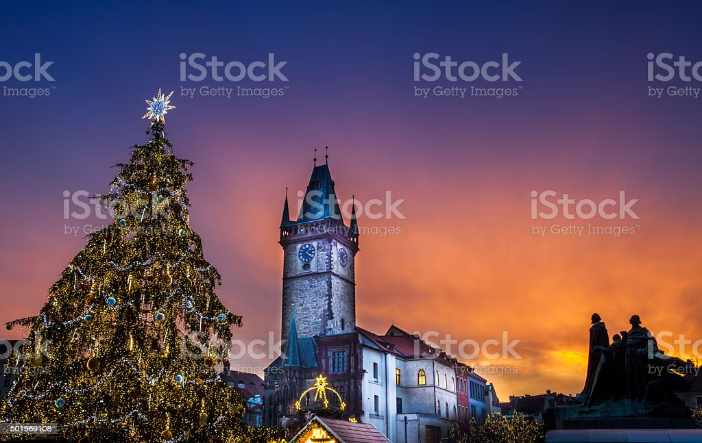 Prague Christmas market on Old Town Square stock photo