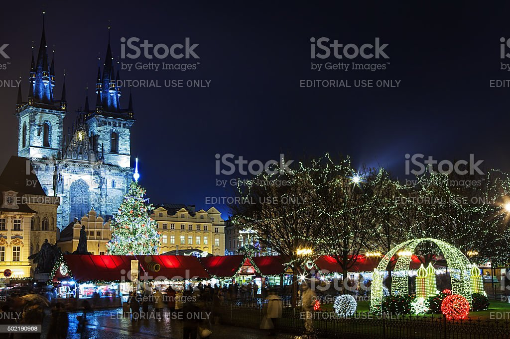 Prague Christmas market on Old Town Square stock photo