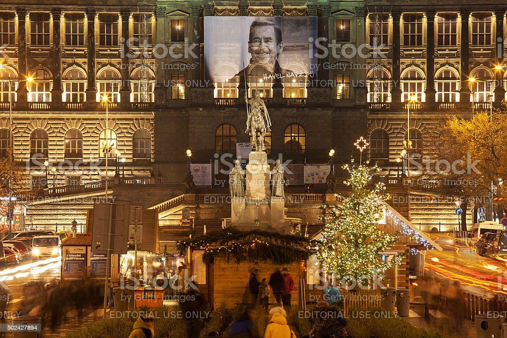 Prague Christmas market on Wenceslas square stock photo