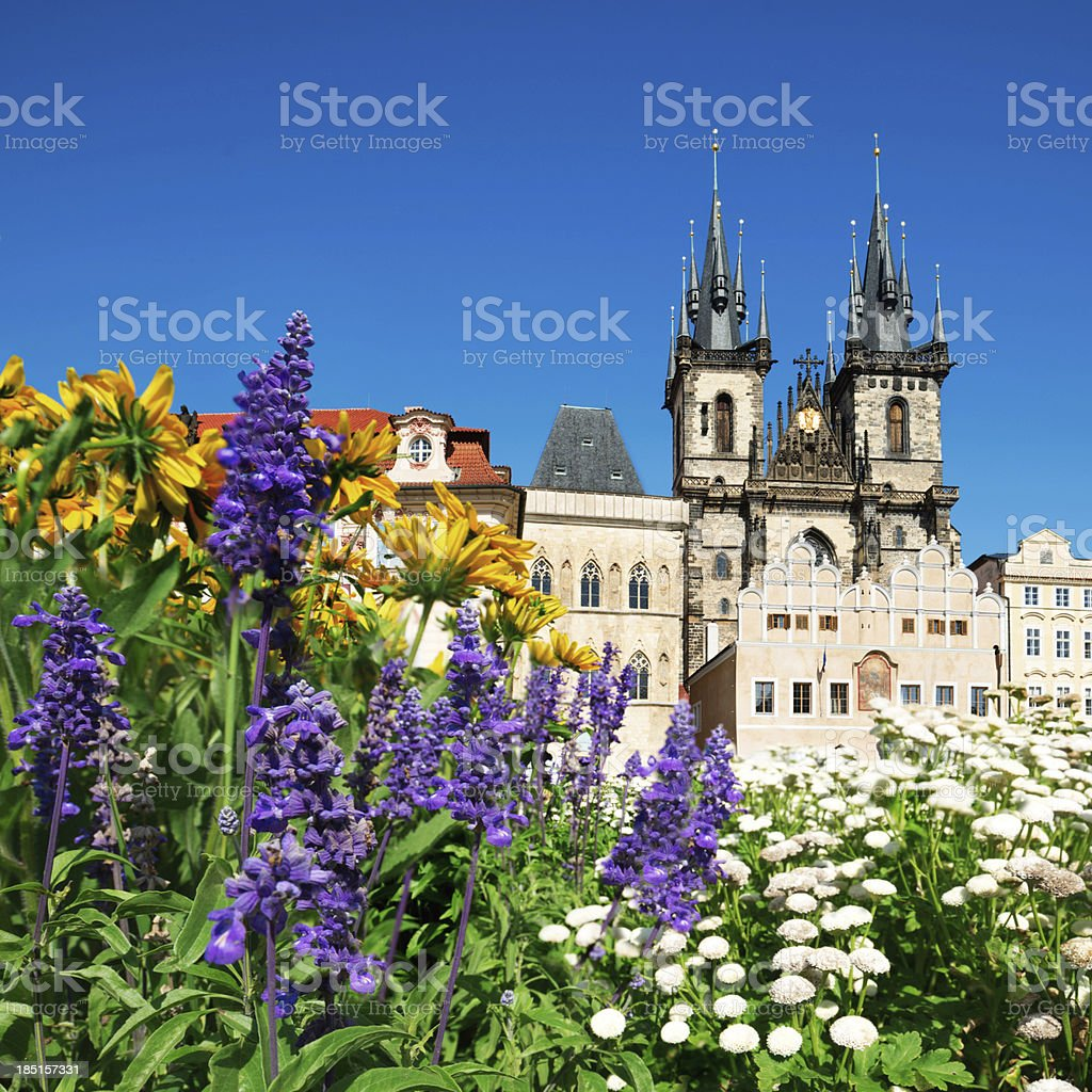 Prague, Church of Mary before Tyn in flowers stock photo