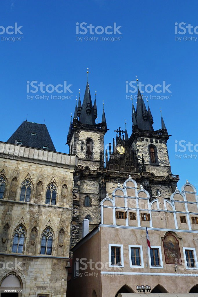 Prague, church of our lady before Tyn stock photo