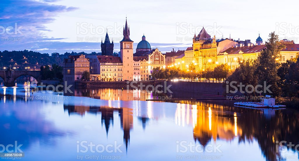 Prague City and the Charles Bridge at Sunset Czech Republic stock photo