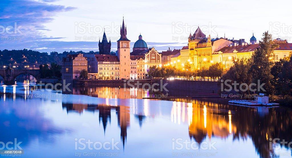 Prague City and the Charles Bridge at Sunset Czech Republic stock photo