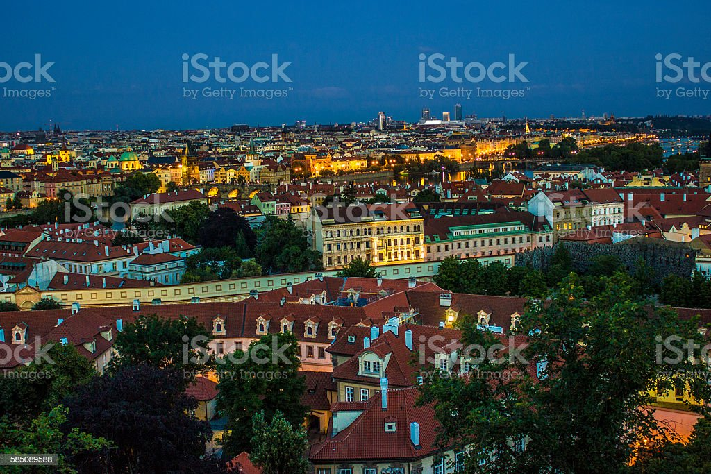Prague city at night time in Czech Republic stock photo