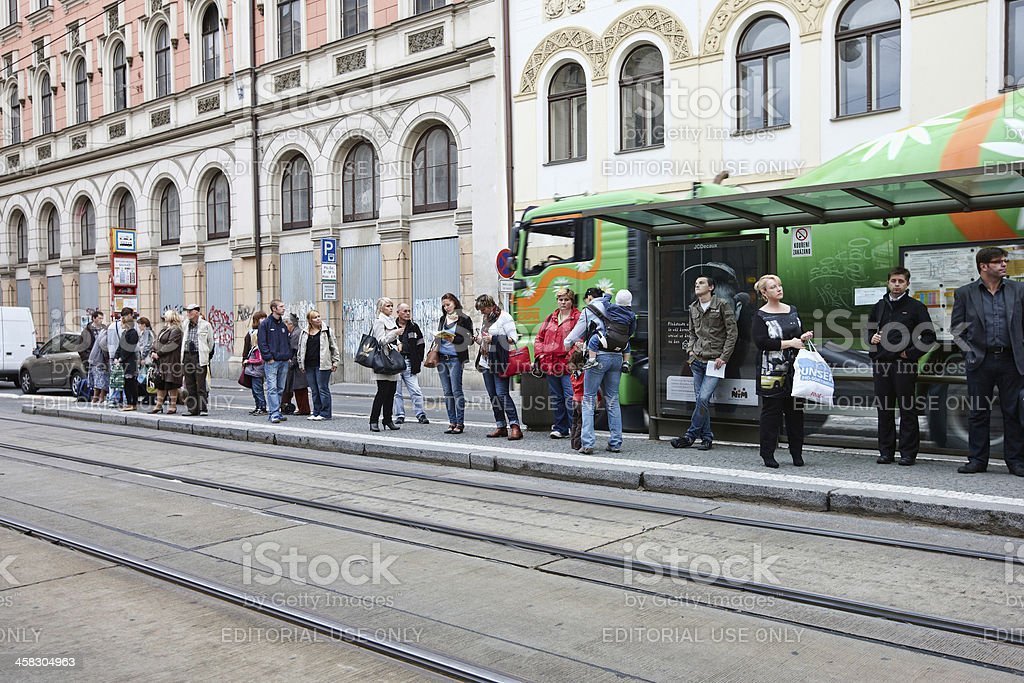 Prague city centre  tram stop royalty-free stock photo