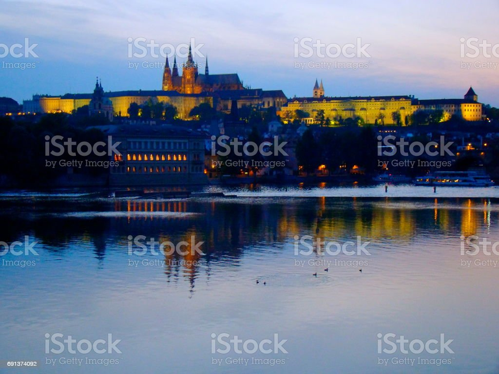 Prague cityscape panorama over medieval city at sunset, Czech Republic stock photo