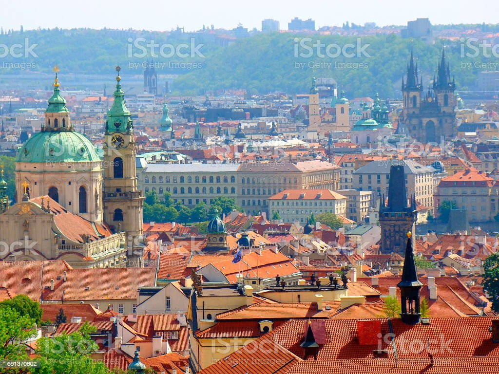 Prague cityscape panorama over medieval gothic and baroque city, Czech Republic stock photo