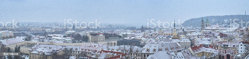 Prague cityscape with snow stock photo