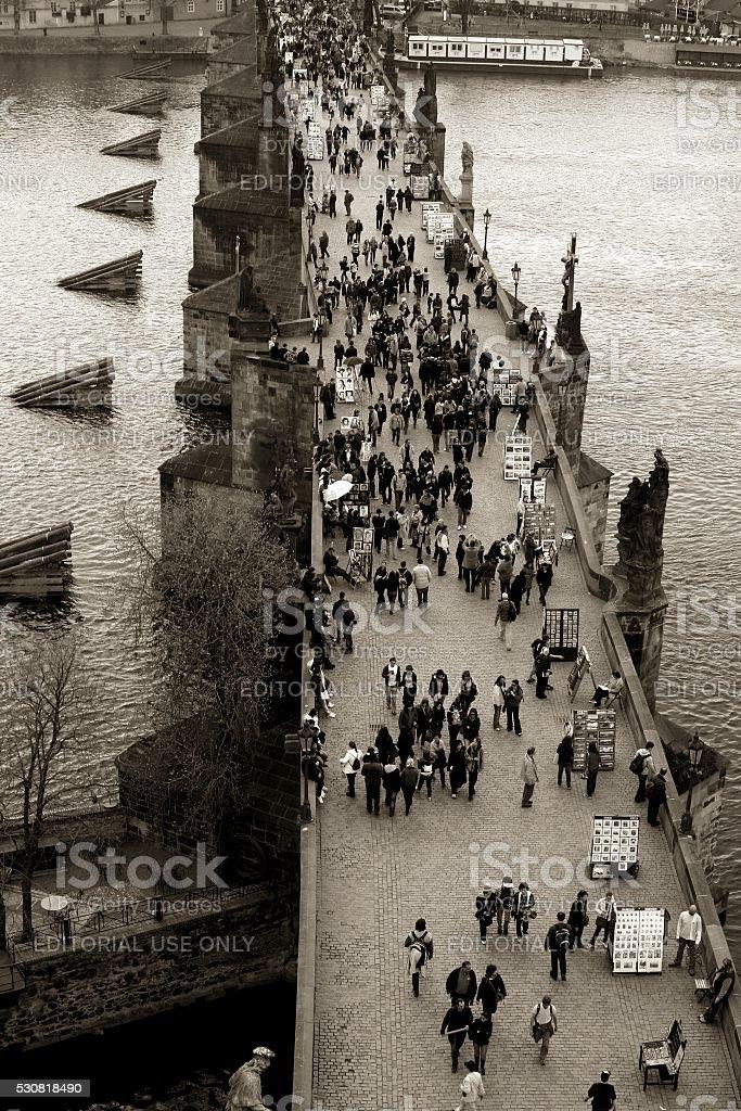 Prague crowded Charles Bridge Aerial view Black and White stock photo
