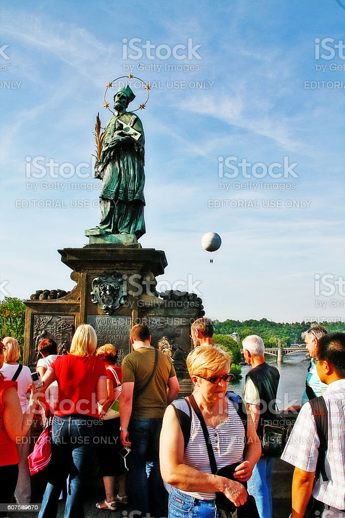 Prague, Czech - May 24, 2011 - St. John of Nepomuk stock photo