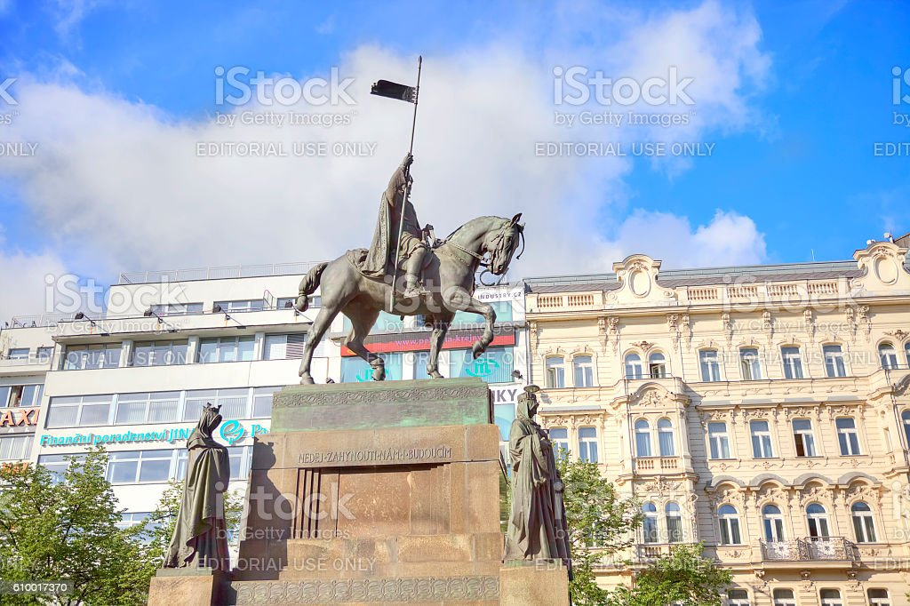 Prague. Czech prince Wenceslaus I, Duke of Bohemia stock photo