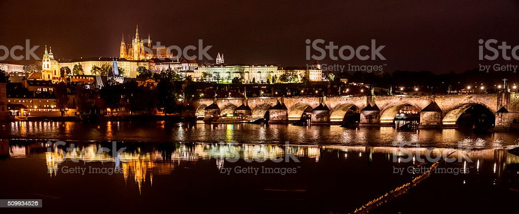 Prague Czech Republic at Night stock photo