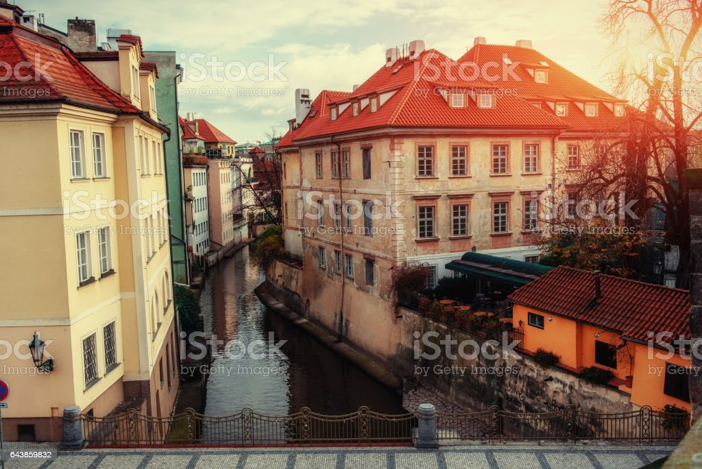 Prague, Czech Republic. Charles Bridge with its statue view from stock photo