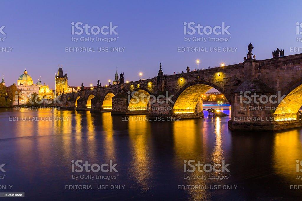 Prague, Czech Republic - November 11th, 2015: Prague, Charles Bridge stock photo