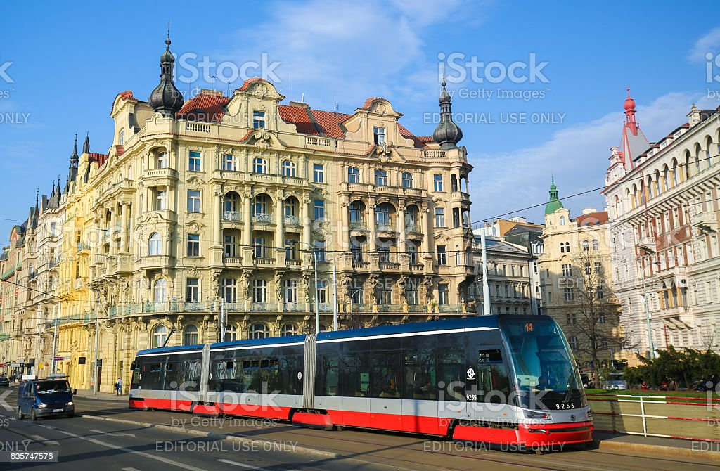 Prague, Czech Republic, red tram passing through Nove Mesto stock photo