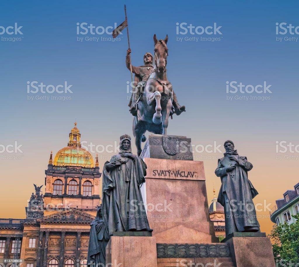 Prague, Czech Republic. Statue of Saint Wenceslas, evening view. stock photo