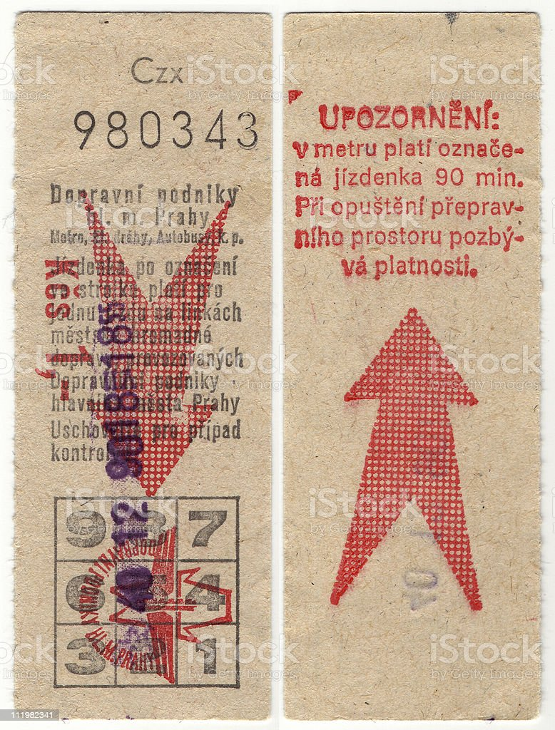 Prague, Czechoslovakia Subway Ticket stock photo