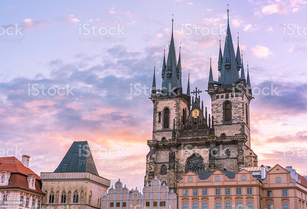 Prague famous cathedral under morning sky stock photo
