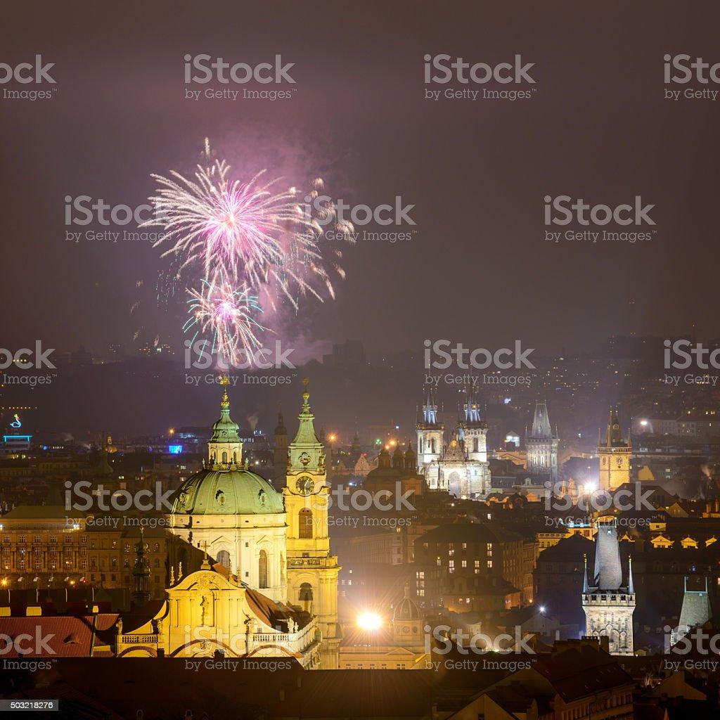 Prague fireworks 2016 stock photo