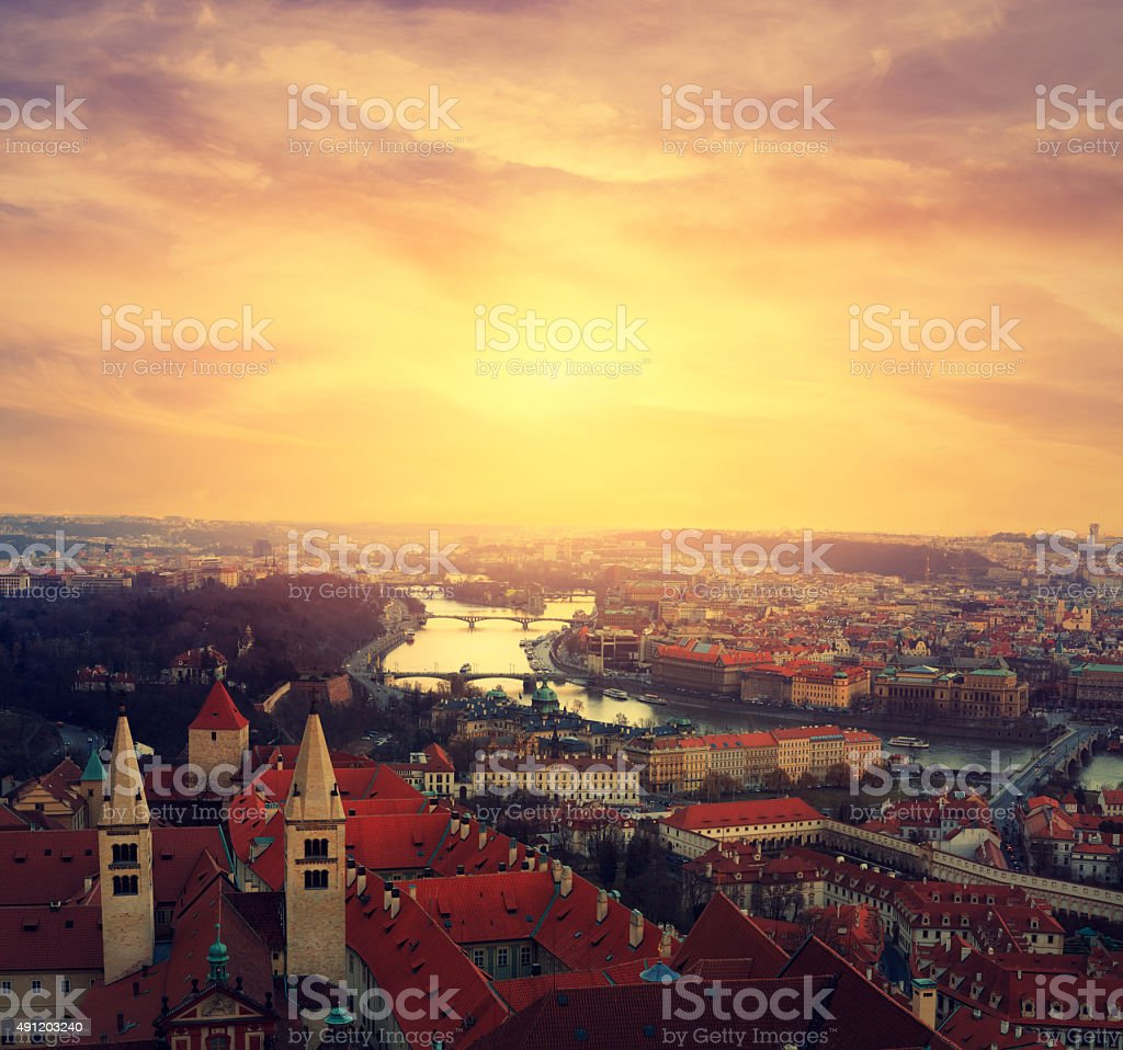 Prague From St. Vitus Cathedral stock photo