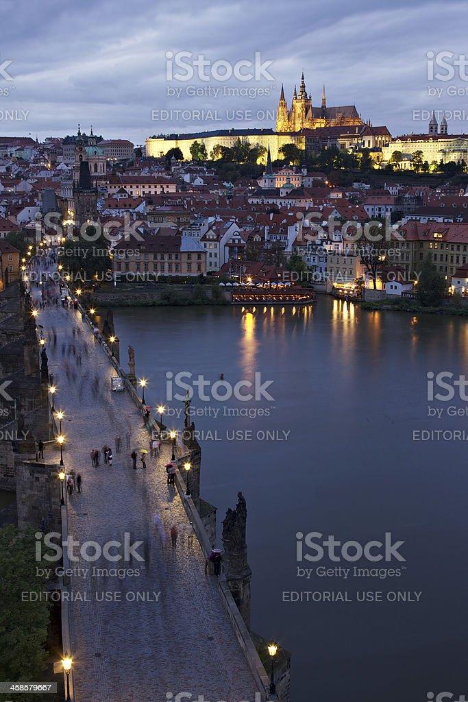 Prague Hrad seen from Charles Bridge at twilight stock photo