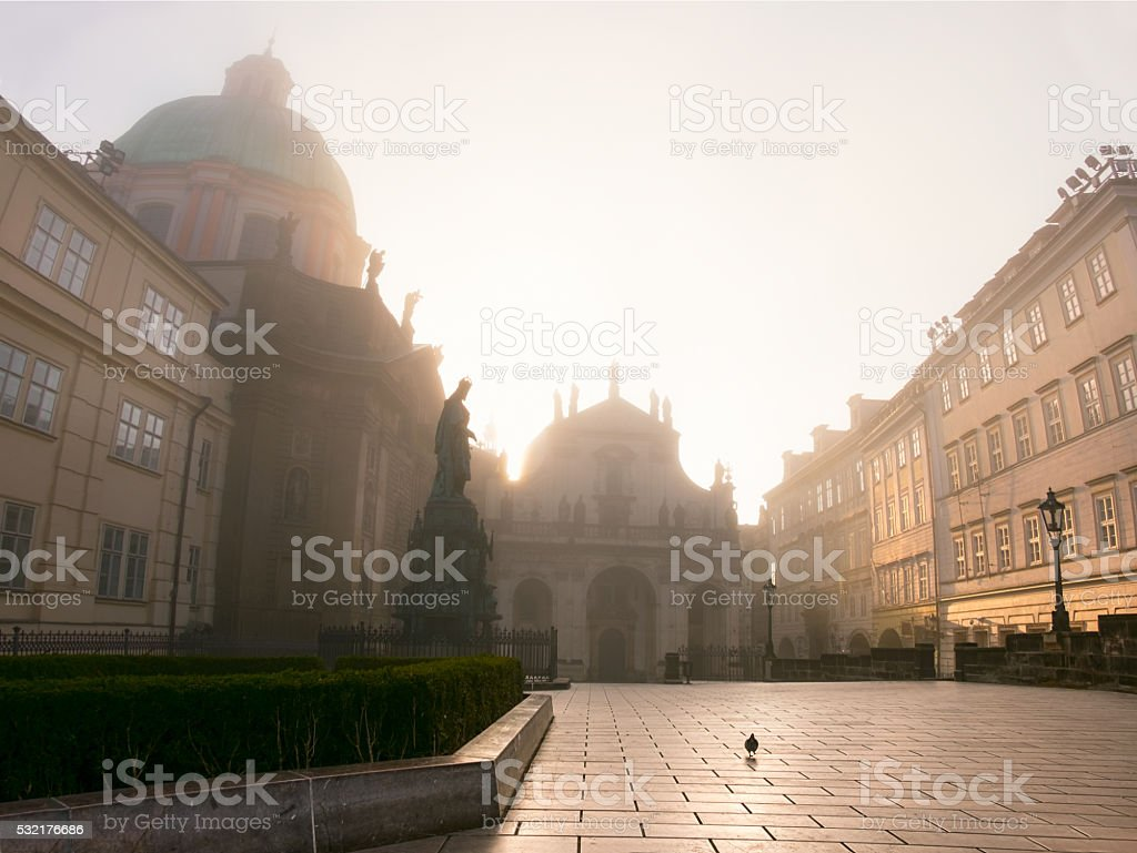 Prague in morning mist stock photo