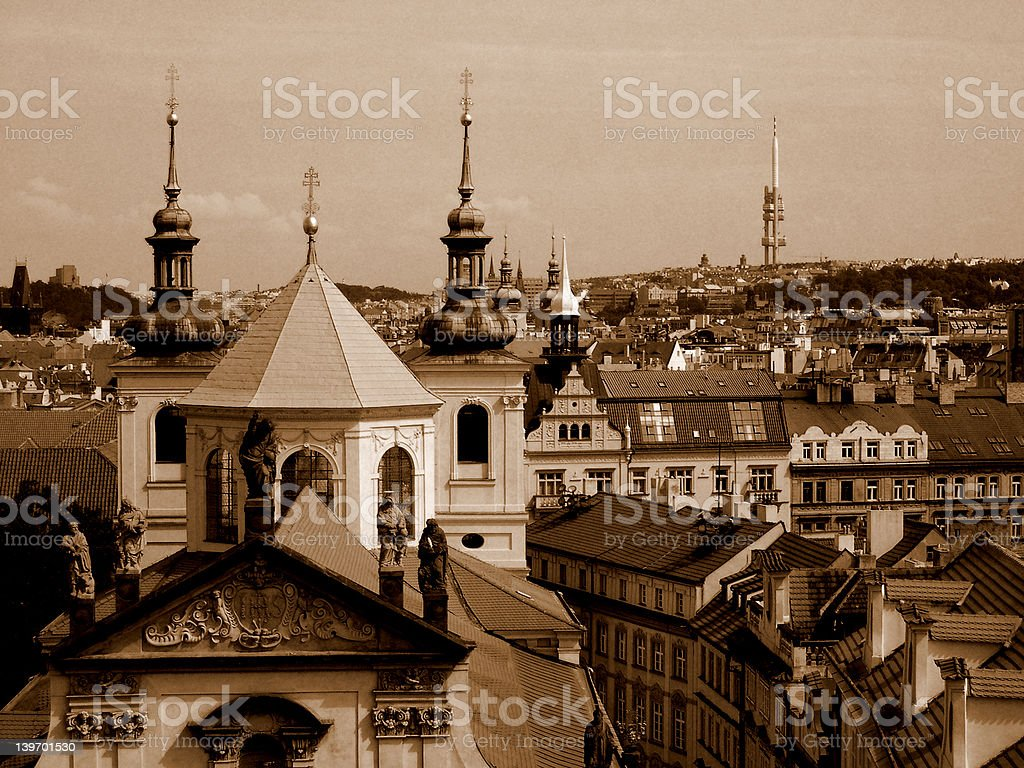 Prague in sepia. royalty-free stock photo