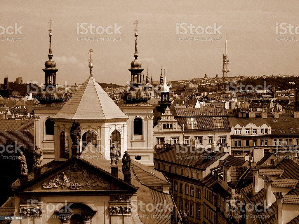 Prague in sepia. stock photo