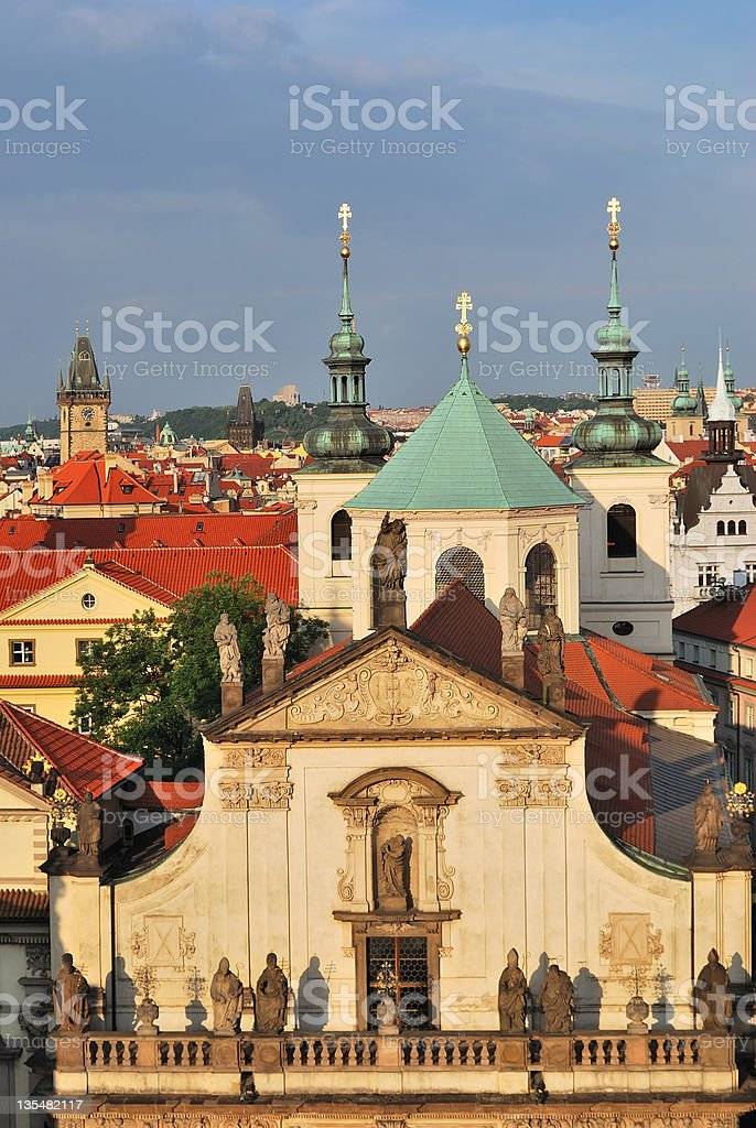 Prague. Klementinum and  St.Salvatore Cathedral stock photo