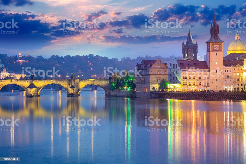 Prague Landmarks at evening, Europe stock photo